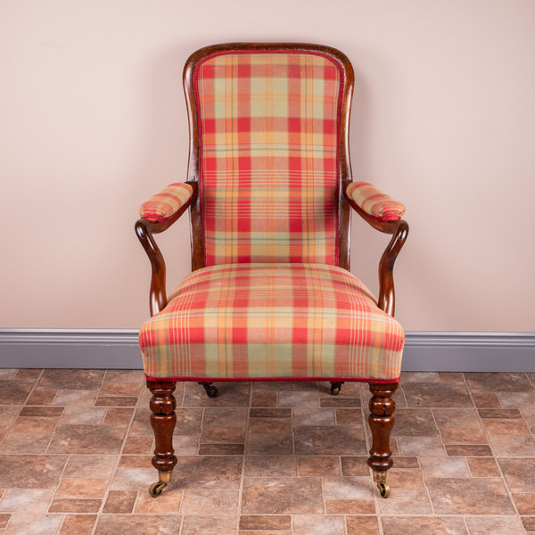 Rosewood Chair With Tartan Fabric