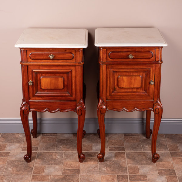 Pair Of French Mahogany Bedside Cabinets With Marble Tops