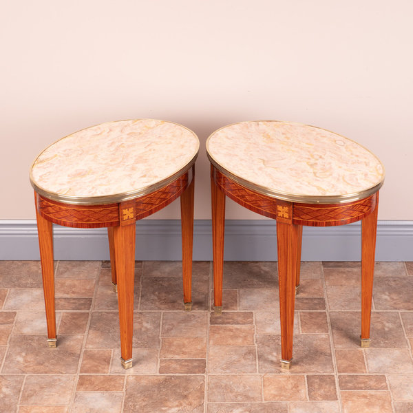 Pair Of Inlaid Marble Topped Occasional Tables