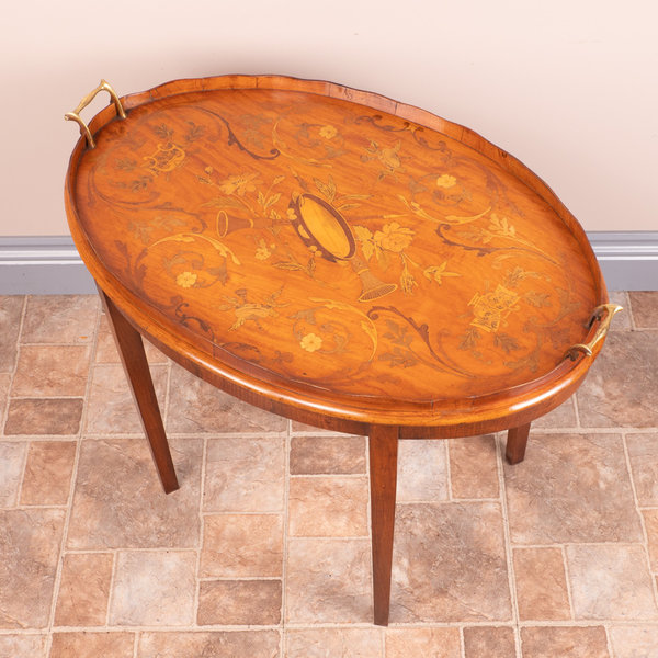 Marquetry Satinwood Tray On Stand