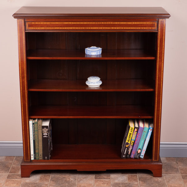 Inlaid Mahogany Open Bookcase