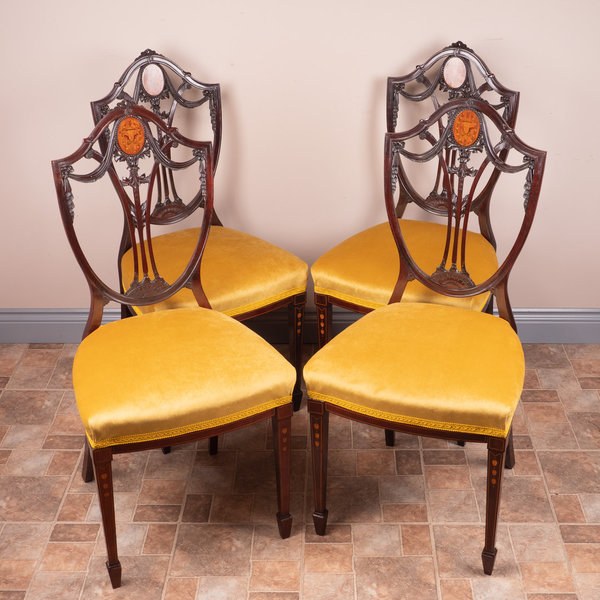 Set Of 4 Inlaid Mahogany Edwardian Chairs