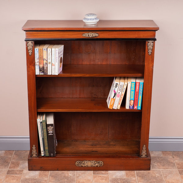 Brass Mounted Walnut Open Bookcase