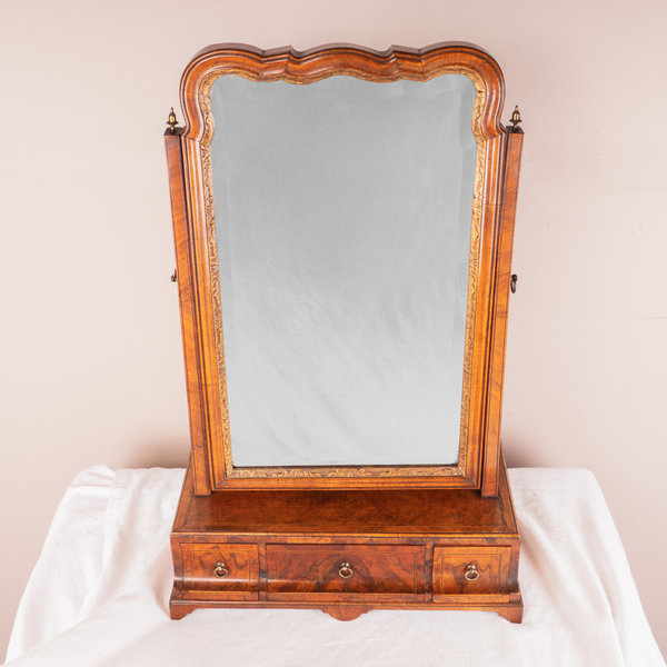 18thC Walnut Toilet Mirror