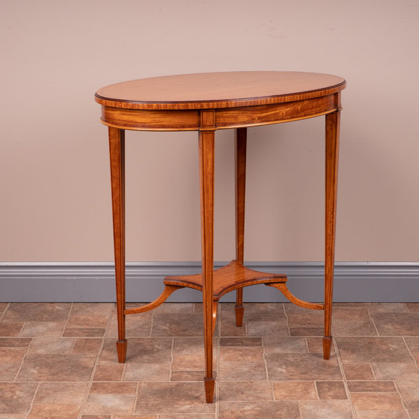 Inlaid Satinwood Oval Occasional Table