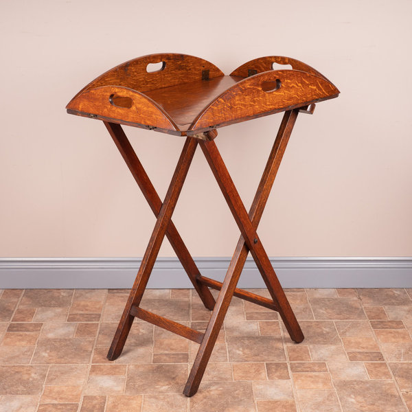 19thC Oak Butlers Tray & Stand