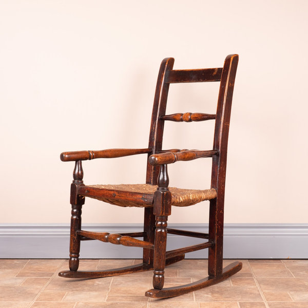 19thC Rush Seated Childs Rocker