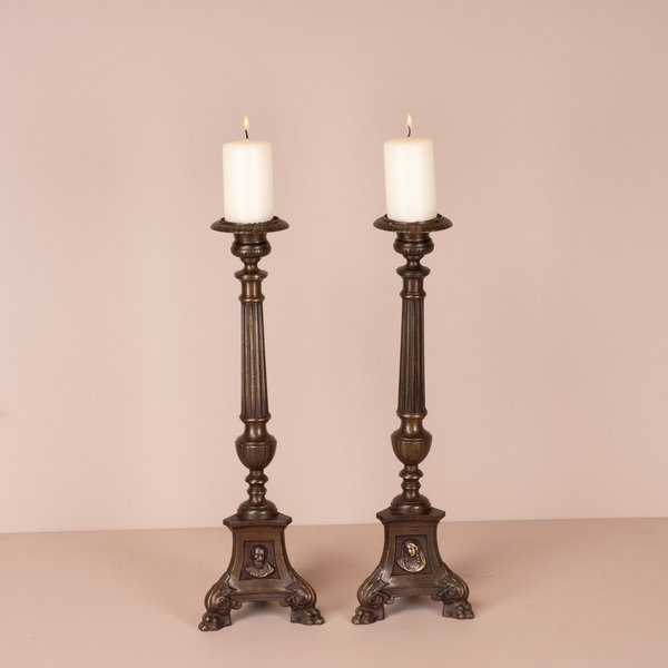 Pair Of Brass Pricket Candlesticks