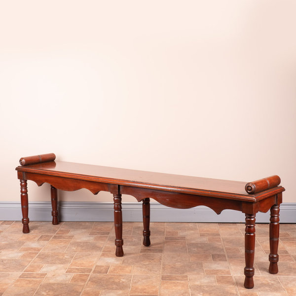Large Late Victorian Mahogany Hall Bench Window Seat