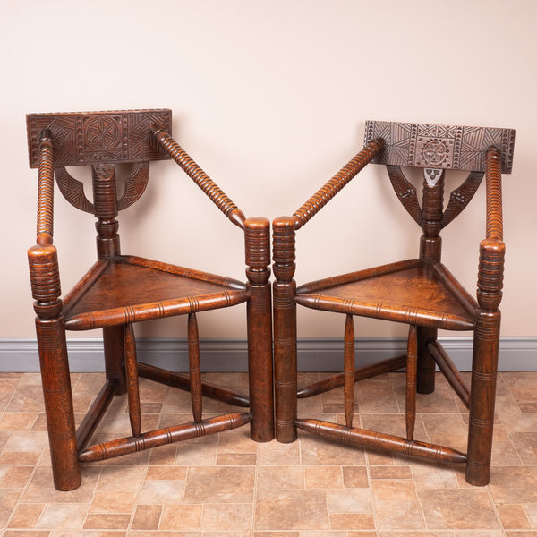 Ladies & Gents Pair Of 19thC 'Old Saxon' Turned Oak Chairs