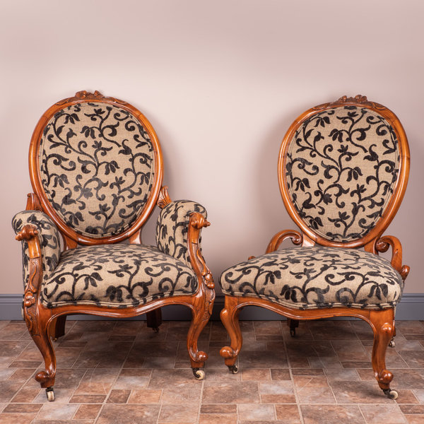 Pair Of Carved Walnut Upholstered Chairs, Ladies and Gents