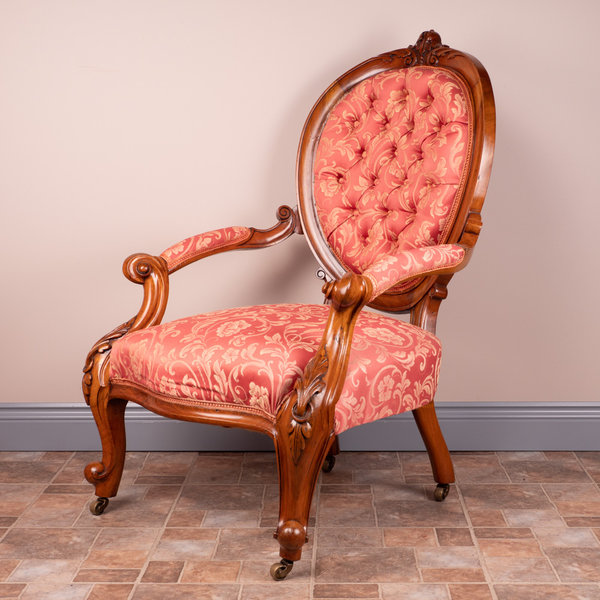 Walnut Grandfather Chair With Salmon Fabric
