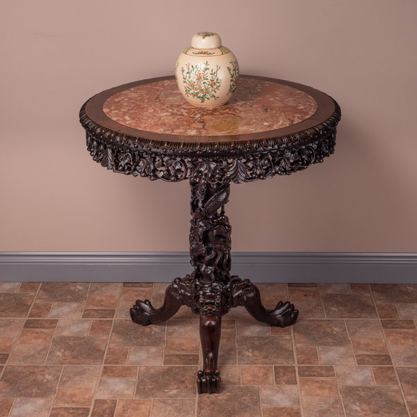 Round Chinese Heavily Carved Table