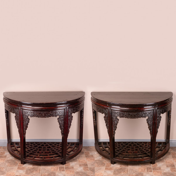 Pair Of Chinese Demi Lune Carved Tables