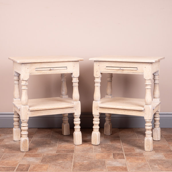 Pair Of Bleached Oak Bedside Tables
