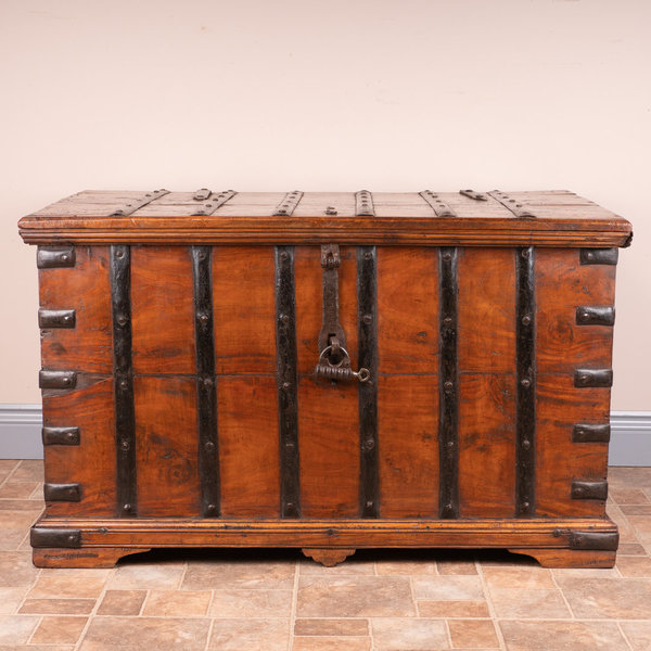 19thC Iron Bound Trunk